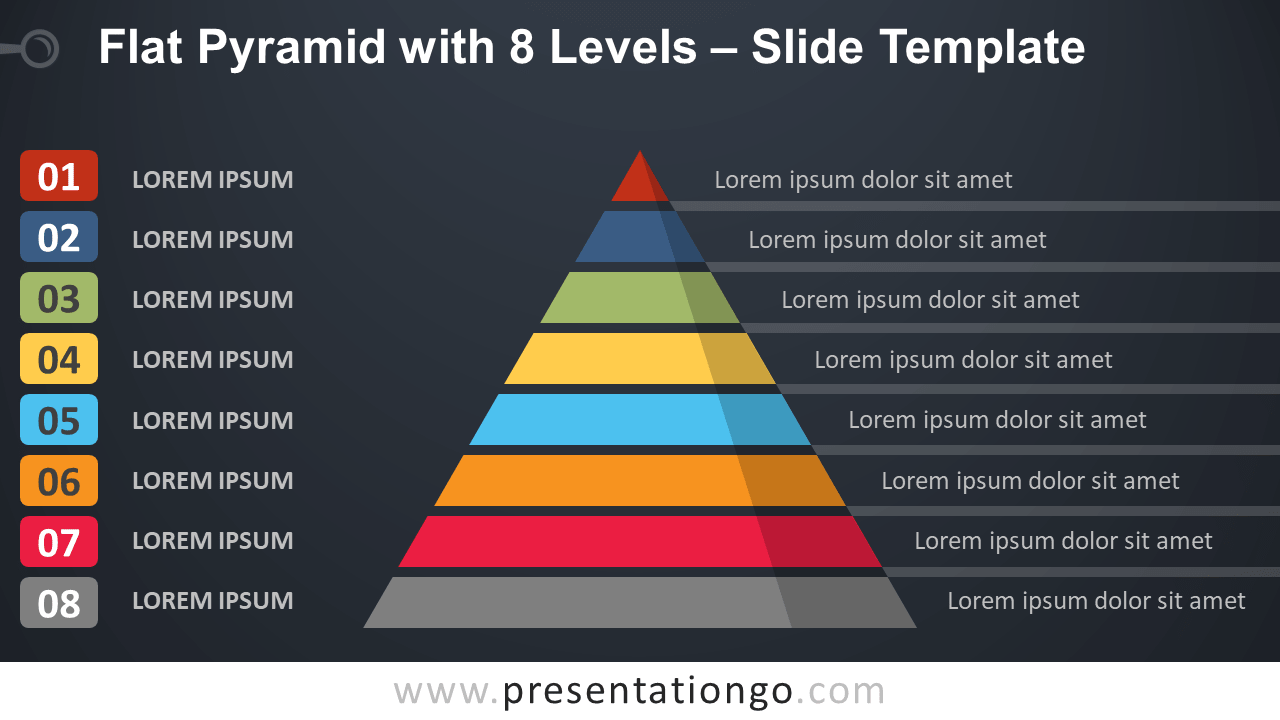 Free Flat Pyramid with 8 Levels Template Presentation