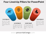 Four Lined-Up Pillars for PowerPoint