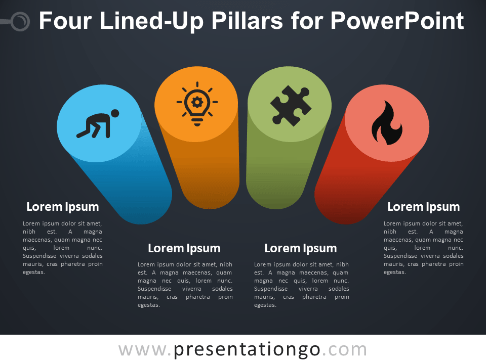 Four Lined-Up Pillars for PowerPoint - Dark Background