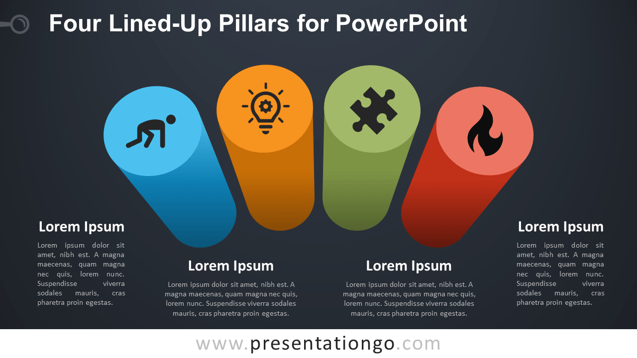 Free Four Lined-Up Pillars for PowerPoint - Dark Background