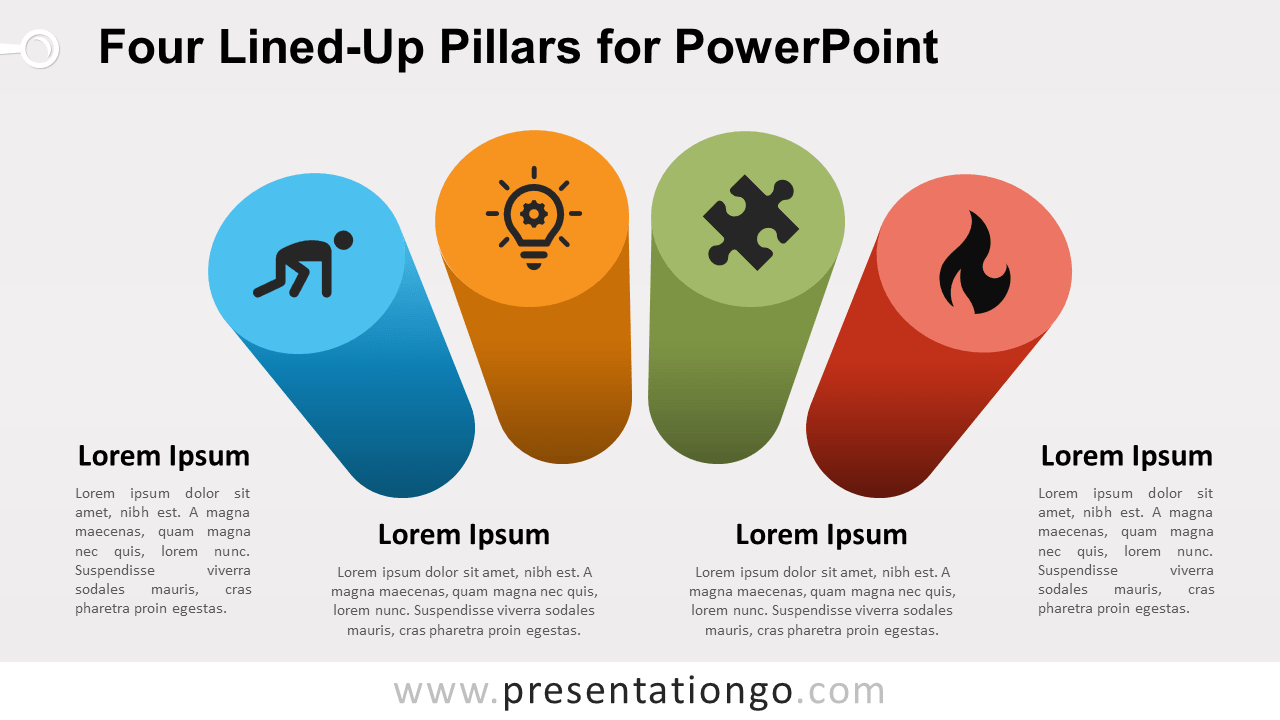 Free Four Lined-Up Pillars for PowerPoint