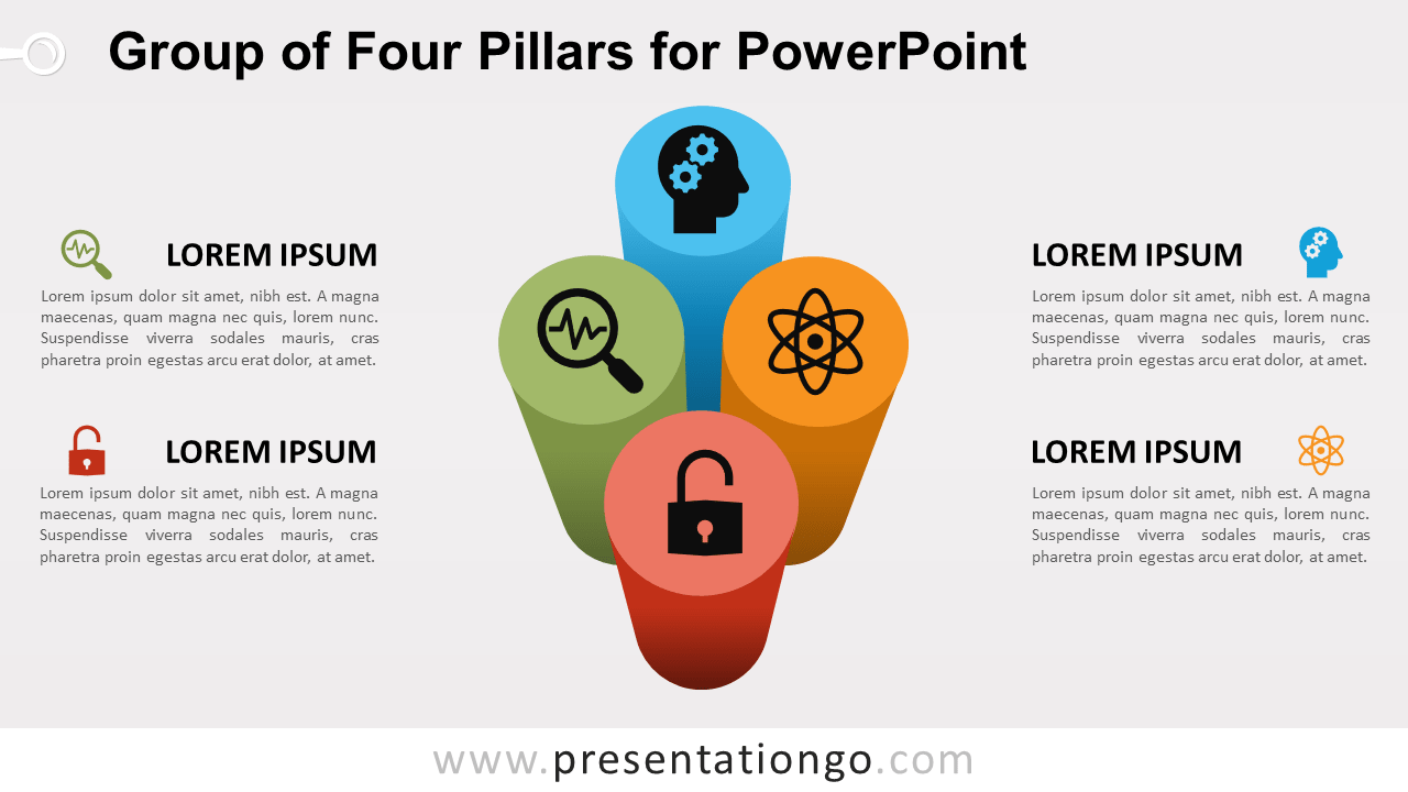 Free Group of 4 Pillars for PowerPoint