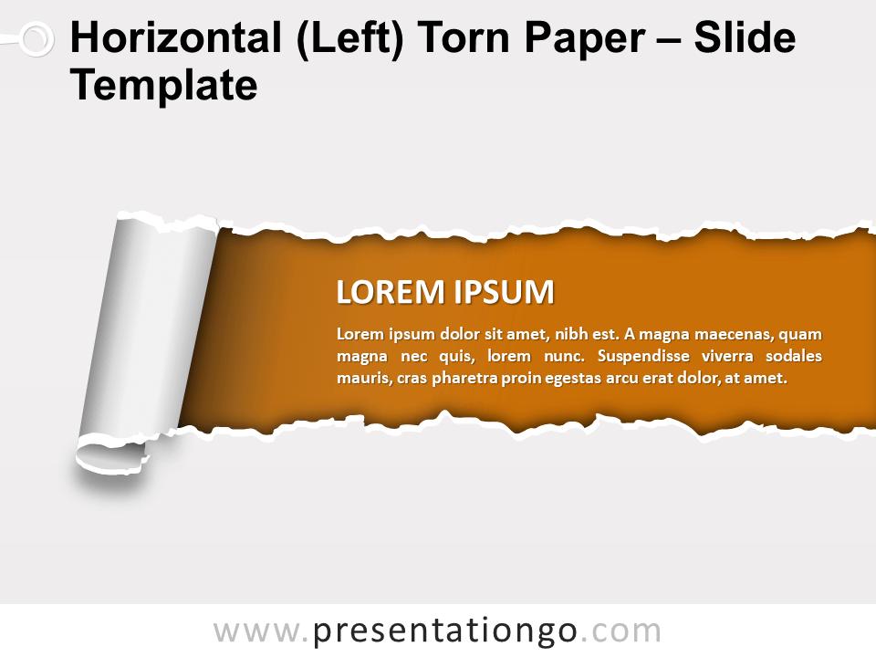 Horizontal Left Torn Paper Slide Template