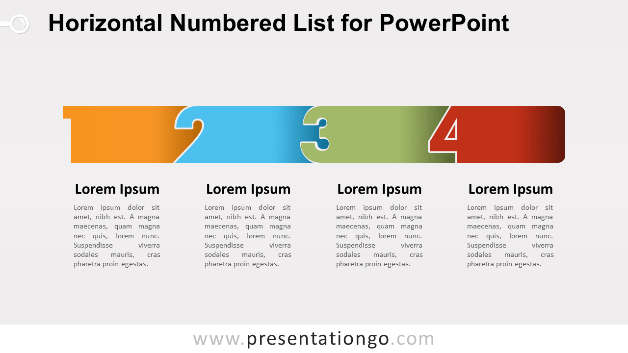 Horizontal List with Numbers for PowerPoint