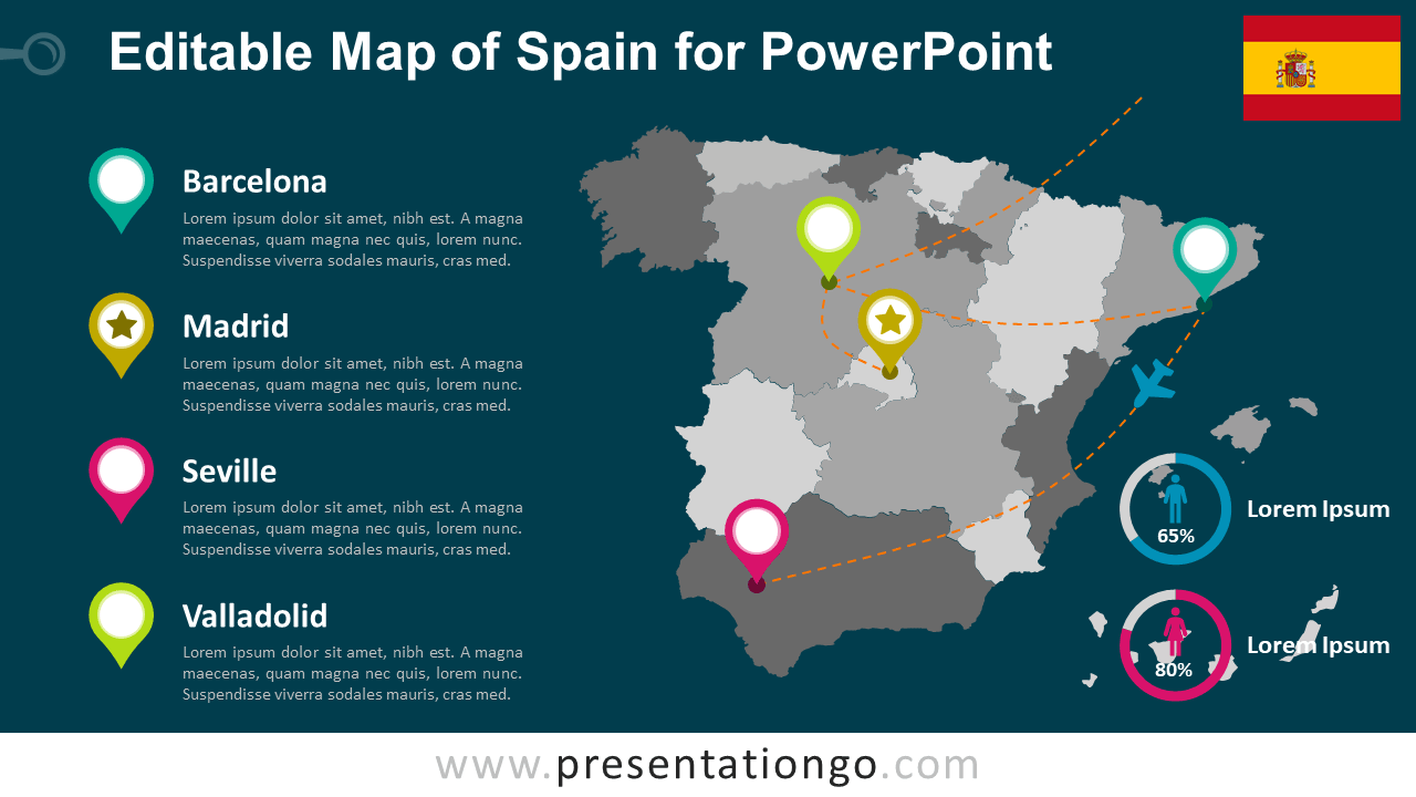 Free Map Spain Template PowerPoint