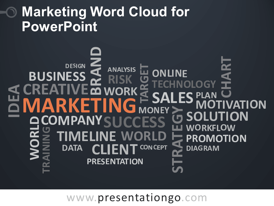 Free Marketing Word Cloud for PowerPoint - Dark Background