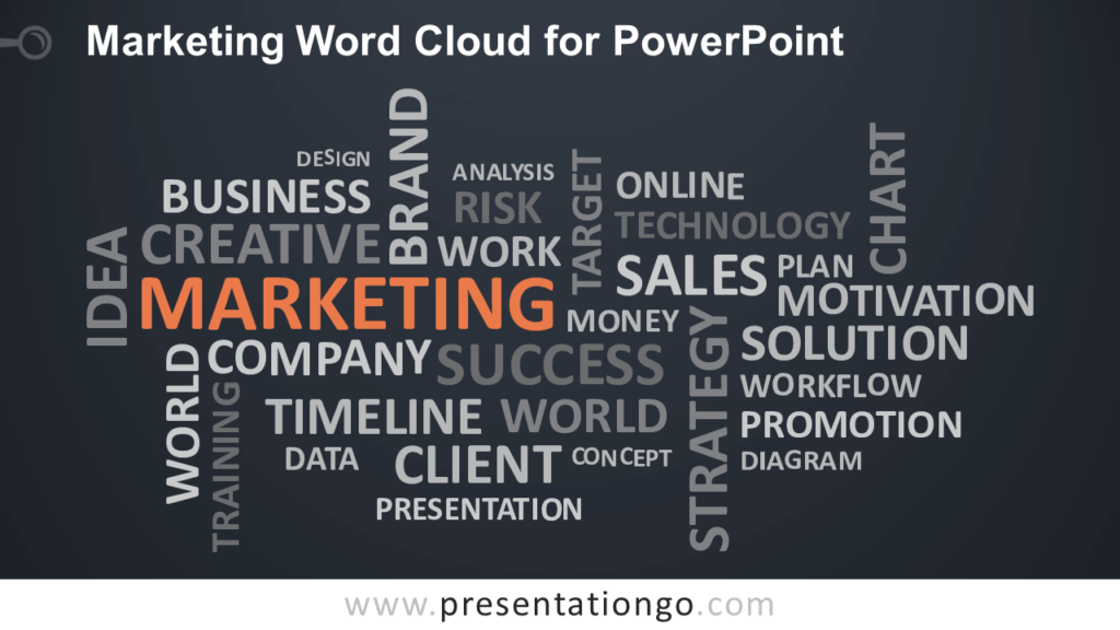 Free Marketing Word Tag Cloud for PowerPoint - Dark Background