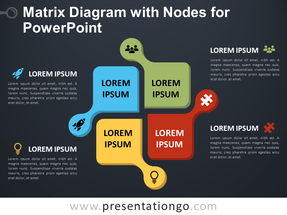 Free Matrix Diagram with Nodes for PowerPoint - Dark Background
