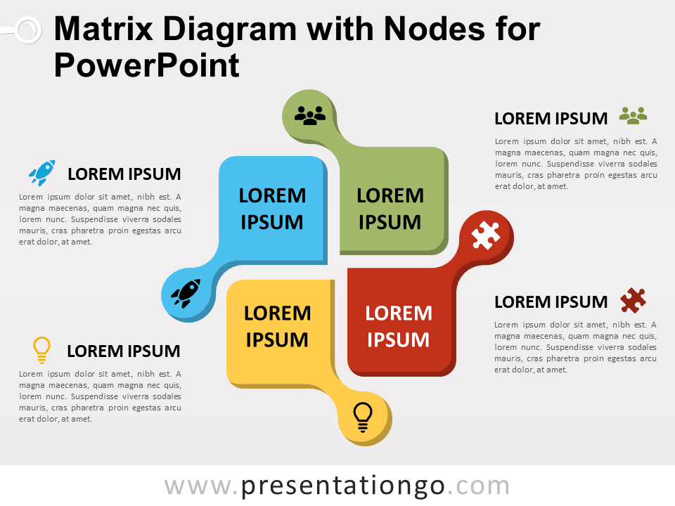 Free Matrix Diagram with Nodes for PowerPoint