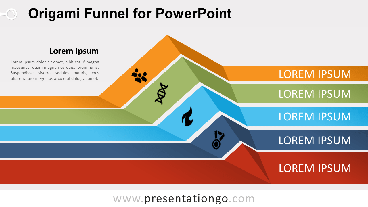 Free Origami Funnel Diagram for PowerPoint