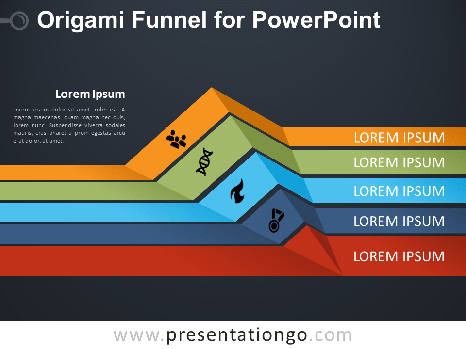 Free Origami Funnel for PowerPoint - Dark Background