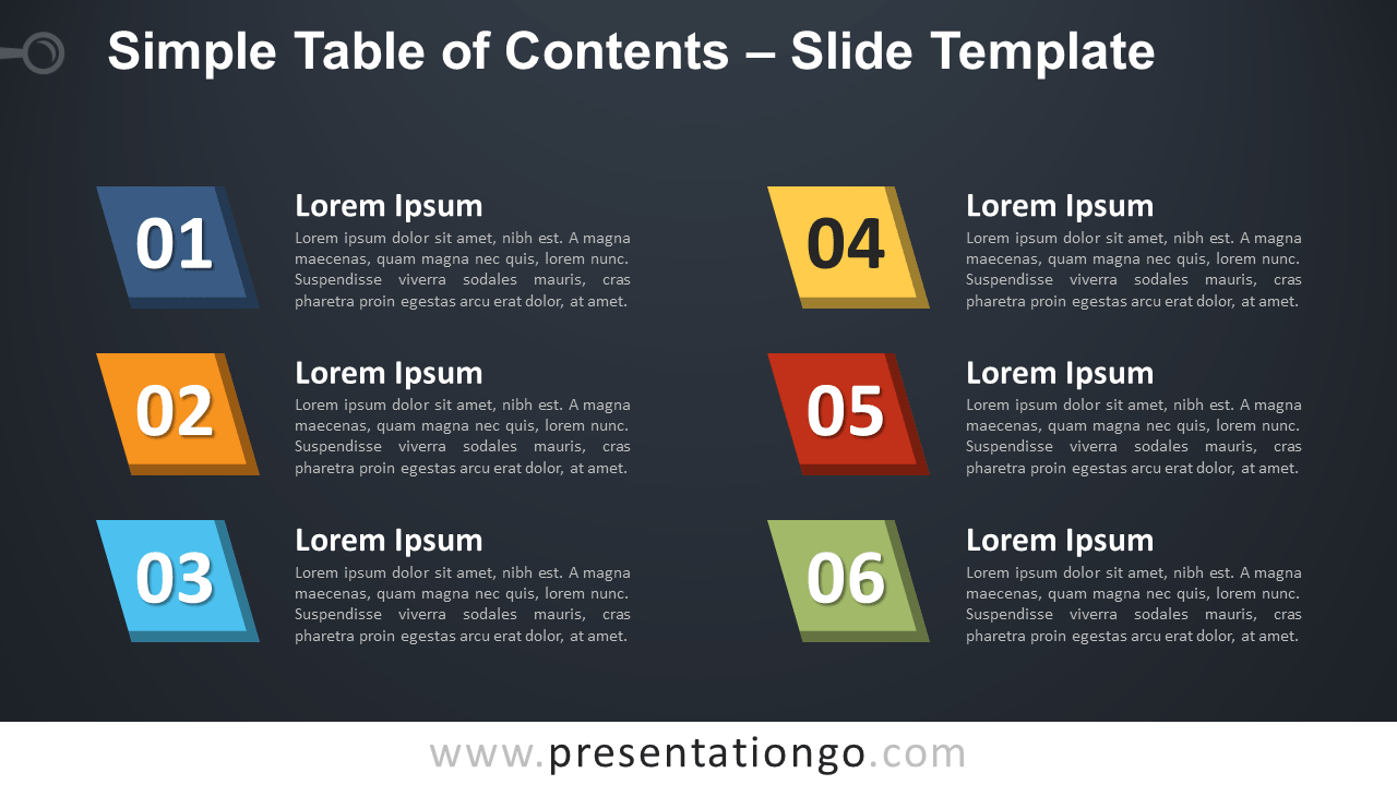 Free Simple Table of Contents for PowerPoint and Google Slides - Dark Background