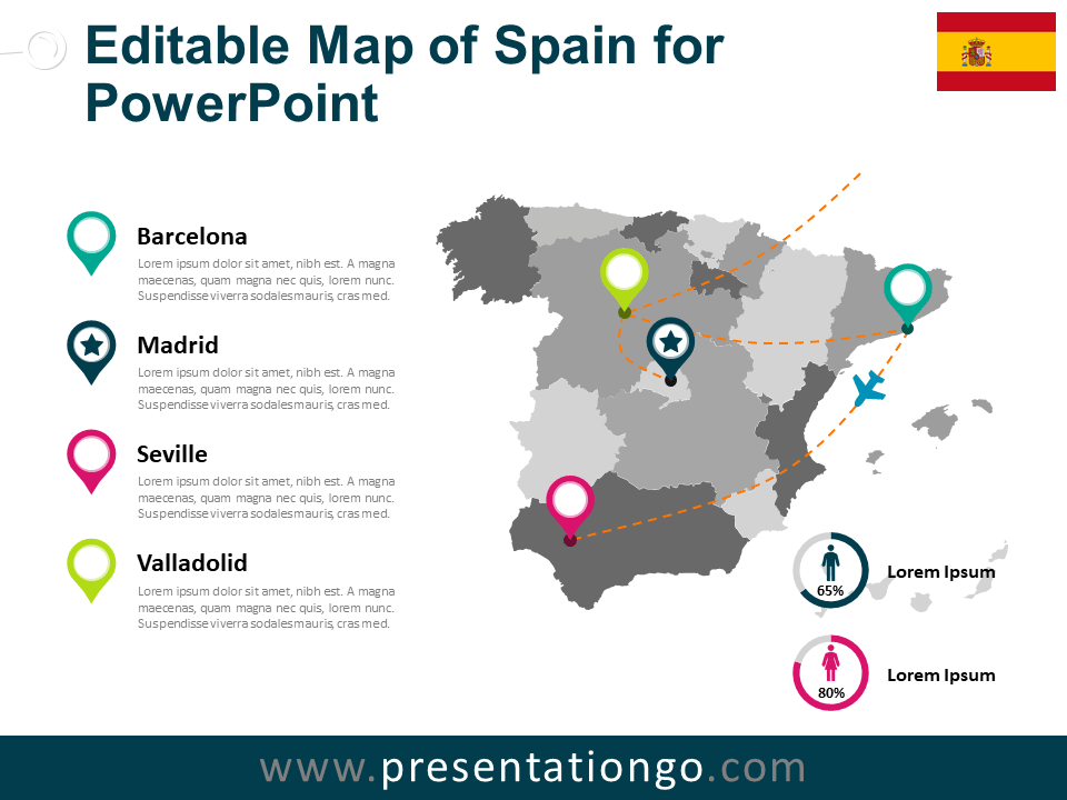 Free Spain Map PowerPoint