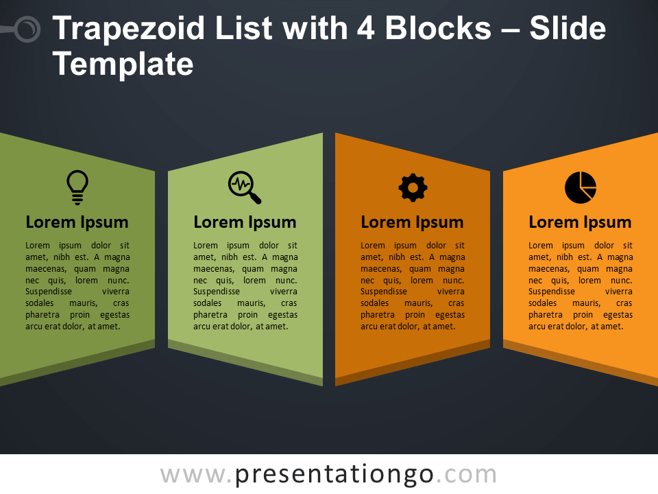 Trapezoid List with 4 Blocks for PowerPoint