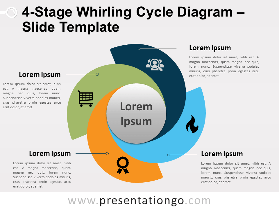 4 Stage Whirling Cycle Diagram For Powerpoint And Google Slides