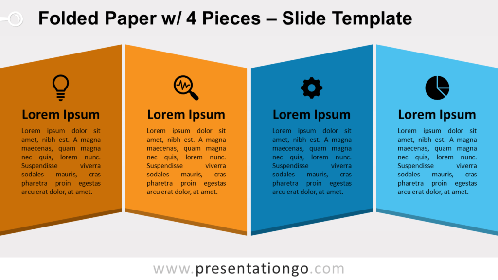 Free Folded Paper with 4 Pieces for PowerPoint and Google Slides