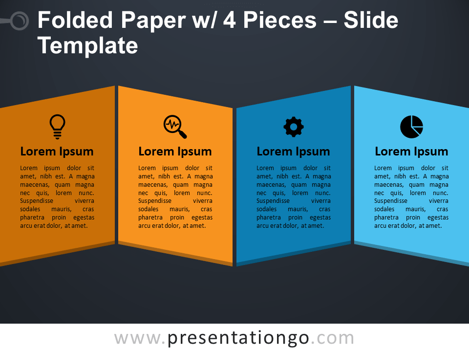 Folded Paper with 4 Pieces Presentation Template