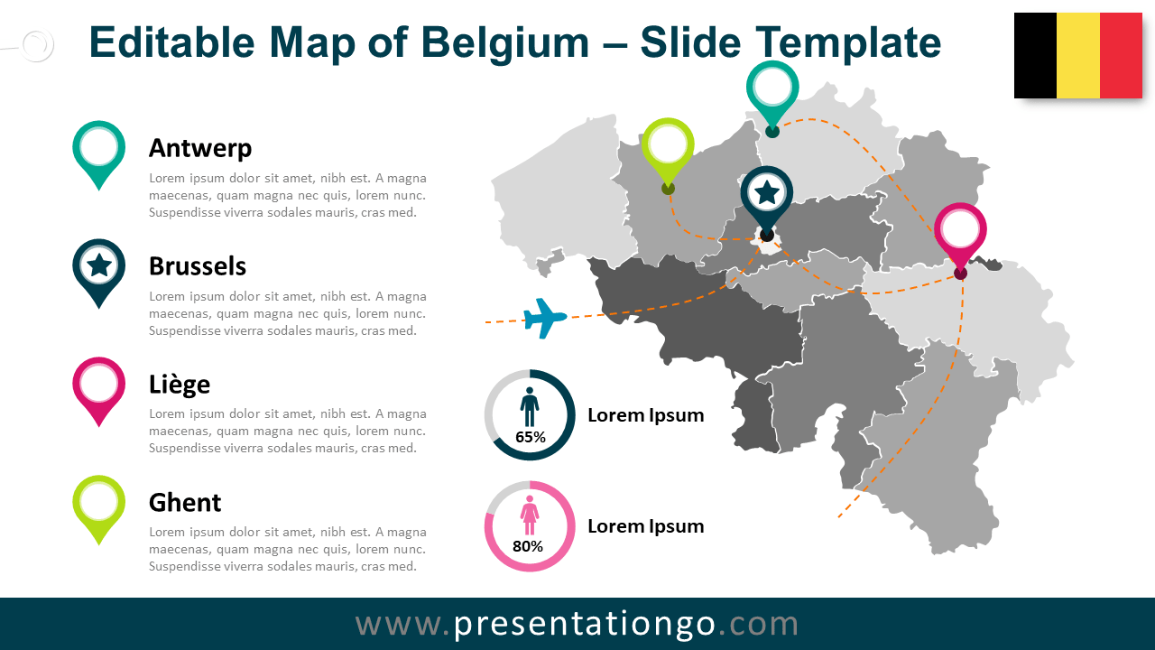 Free Map of Belgium for PowerPoint and Google Slides