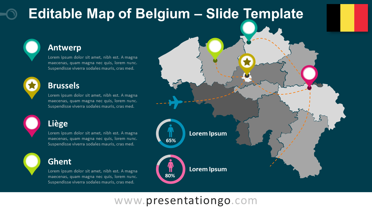 Free Map of Belgium for PowerPoint