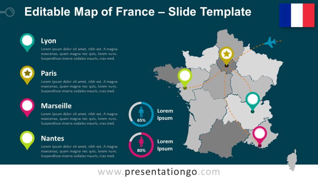 Free Map of France for PowerPoint
