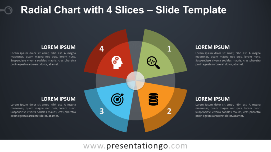 Free Radial Chart with 4 Parts for PowerPoint and Google Slides