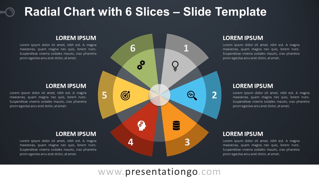 Radial Chart with 6 Parts for PowerPoint and Google Slides
