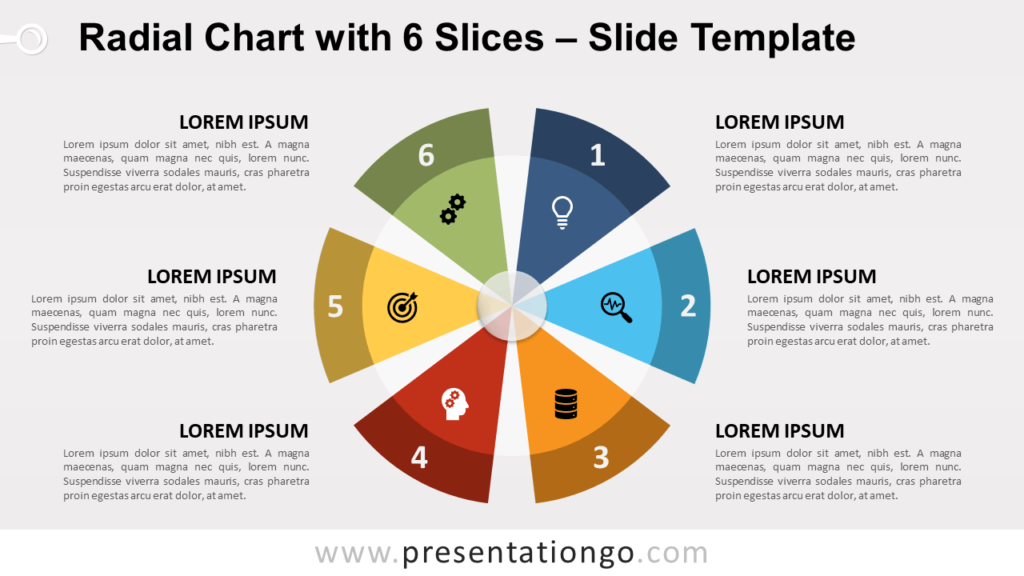 Free Radial Chart with 6 Slices for PowerPoint and Google Slides