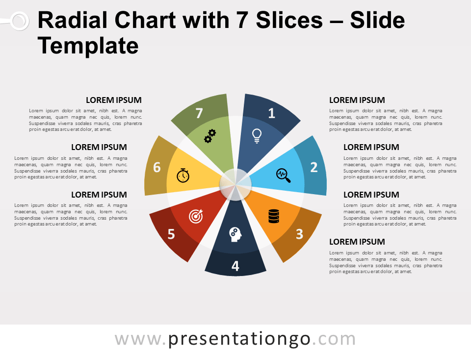 Radial Chart With 7 Slices For Powerpoint And Google Slides