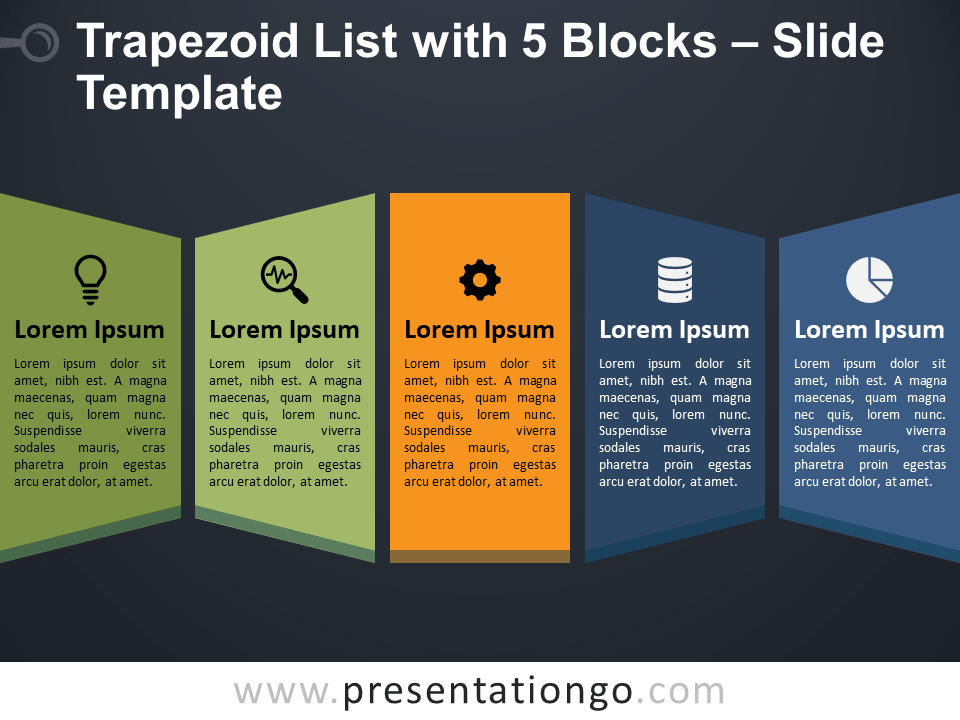 Trapezoid List with 5 Blocks for PowerPoint