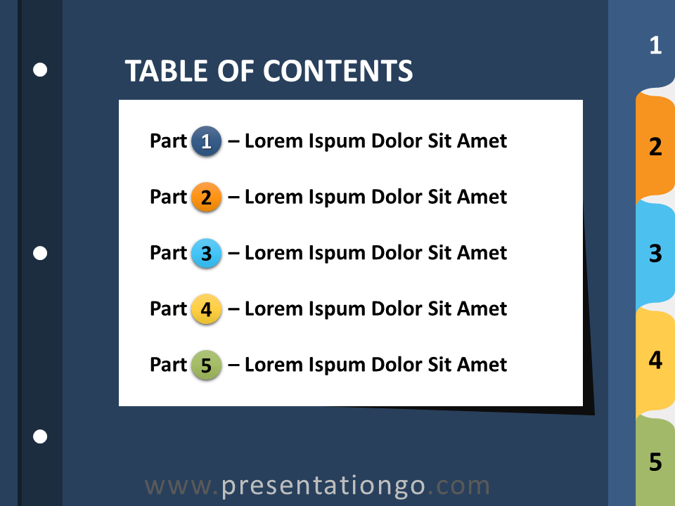 Free 5-Tab Binder Dividers for PowerPoint - Slide 1