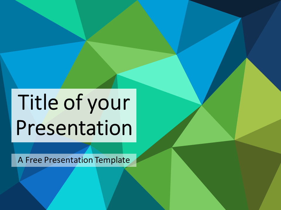 Blue Green Triangle Mosaic Template For Powerpoint And