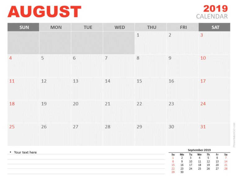 Calendar 2019 August for PowerPoint - Starts Sunday