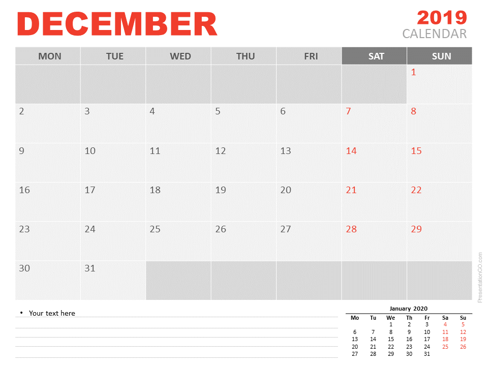 Free Calendar 2019 December for PowerPoint - Starts Monday