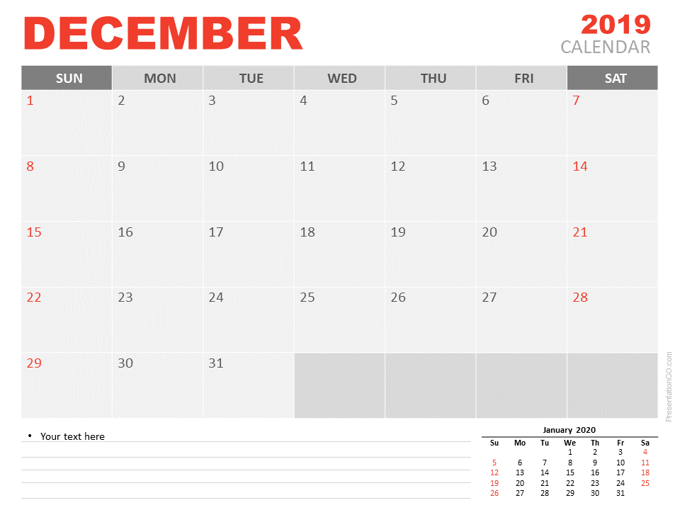 Free Calendar 2019 December for PowerPoint - Starts Sunday