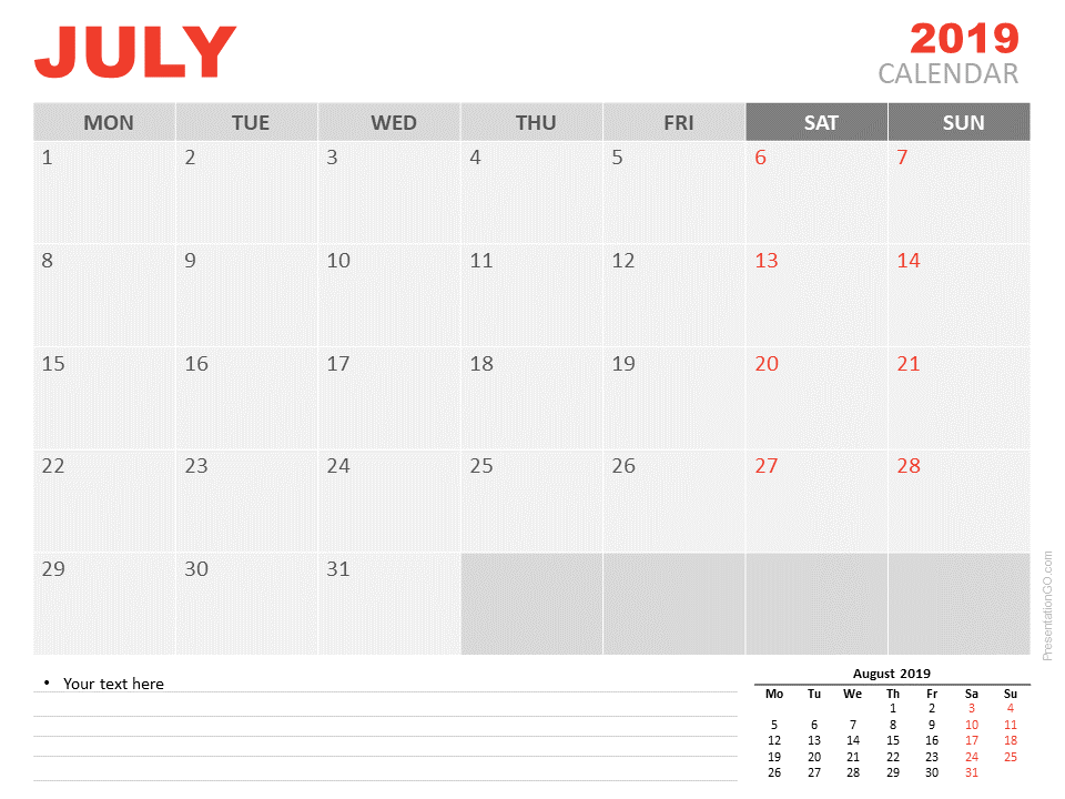 Free Calendar 2019 July for PowerPoint - Starts Monday