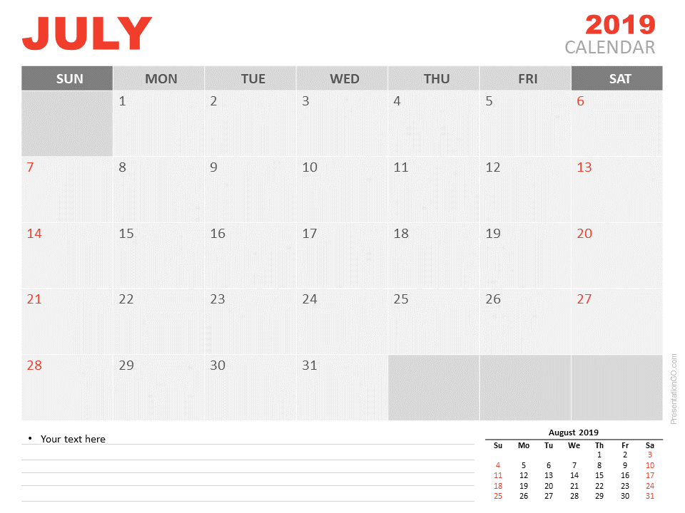 Free Calendar 2019 July for PowerPoint - Starts Sunday