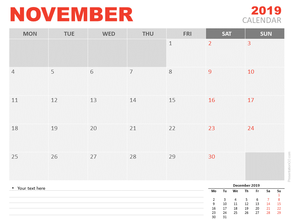 Free Calendar 2019 November for PowerPoint - Starts Monday