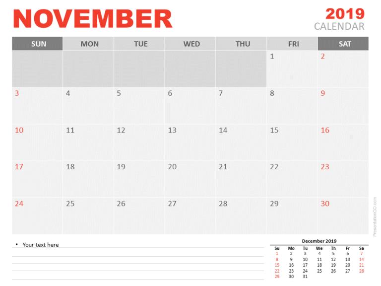 Free Calendar 2019 November for PowerPoint - Starts Sunday