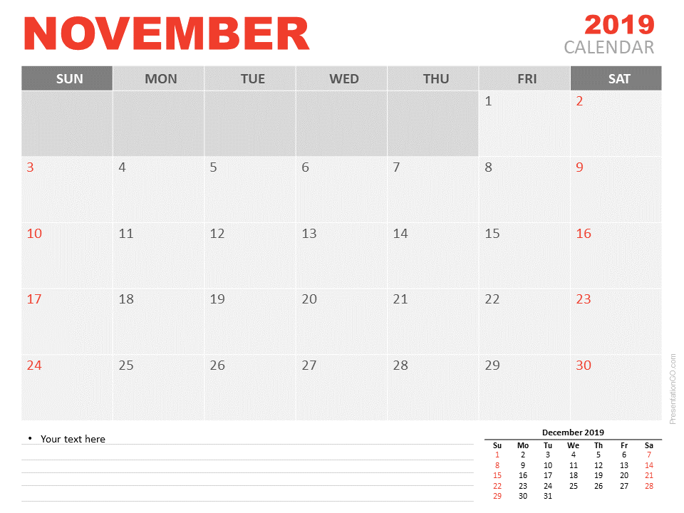 Free Calendar 2019 November for PowerPoint - Starts Sunday