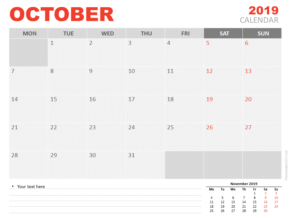 Free Calendar 2019 October for PowerPoint - Starts Monday