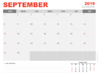 Free Calendar 2019 September for PowerPoint - Starts Sunday