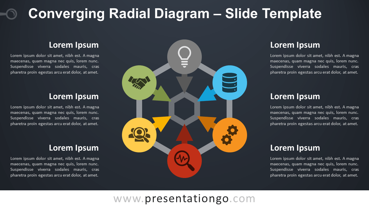 Free Converging Radial Diagram for PowerPoint