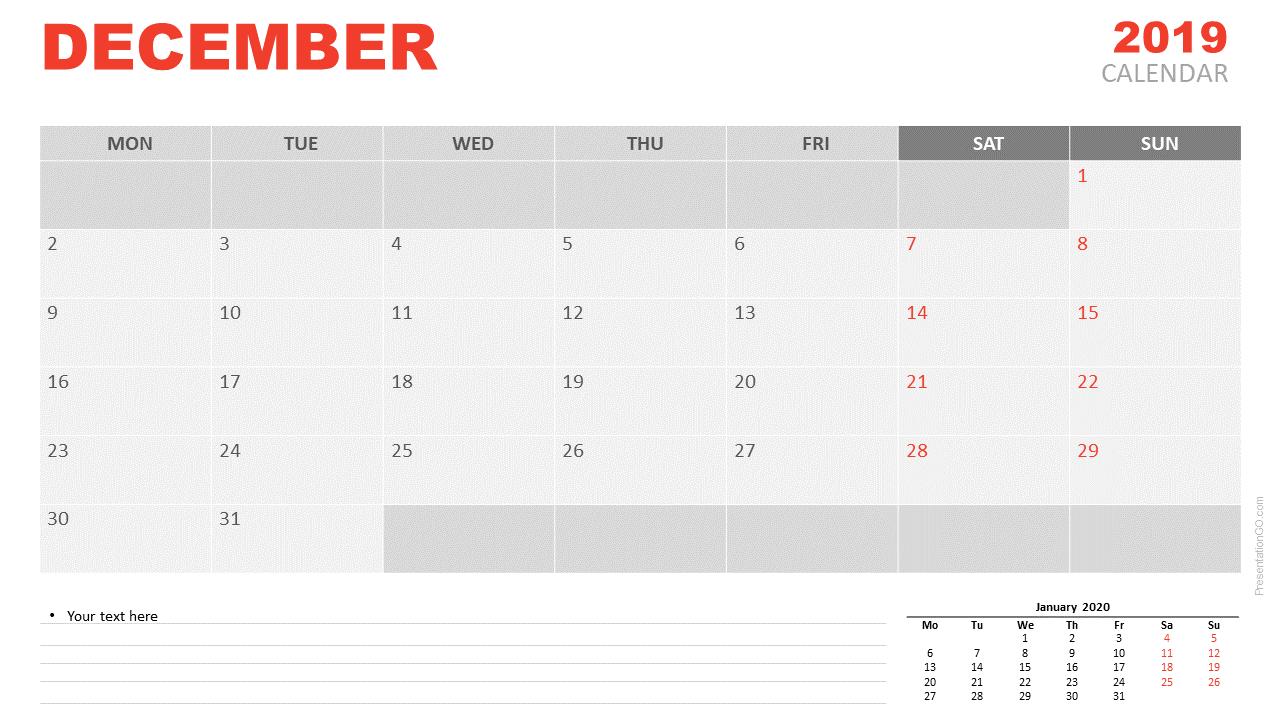 June 2019 Calendar PowerPoint (Monday)