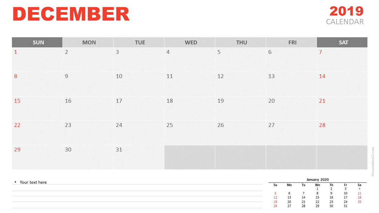 Free December 2019 Calendar for PowerPoint and Google Slides