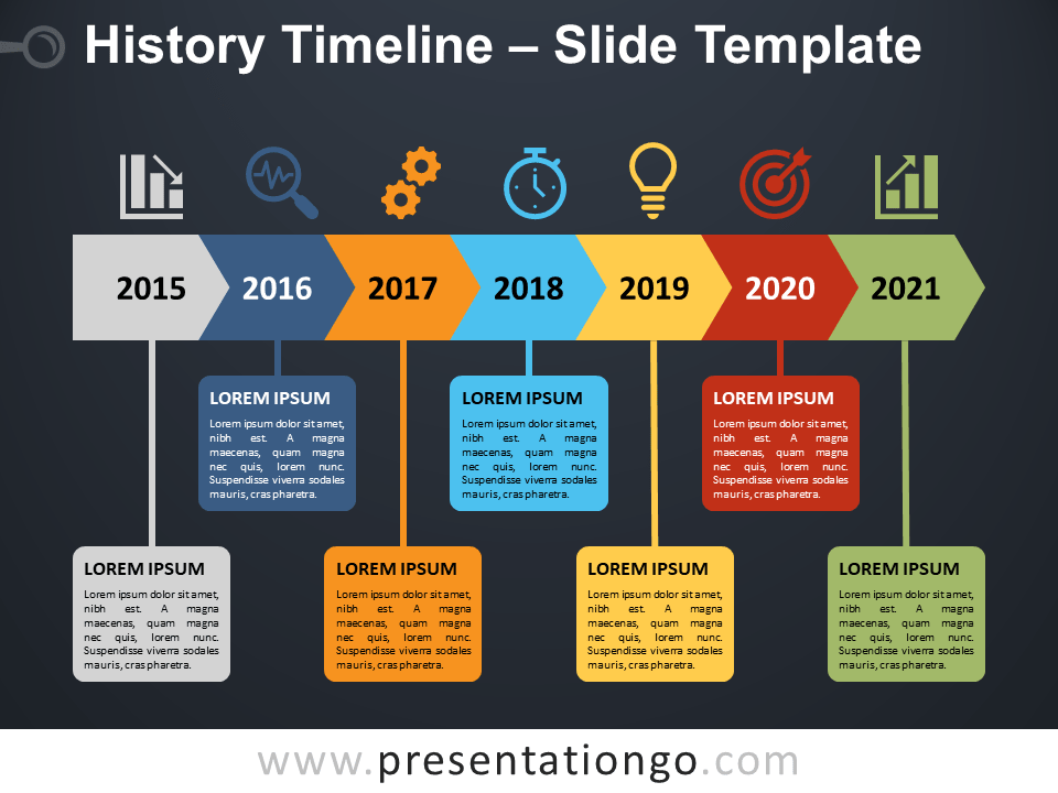 Free History Timeline Diagram for PowerPoint