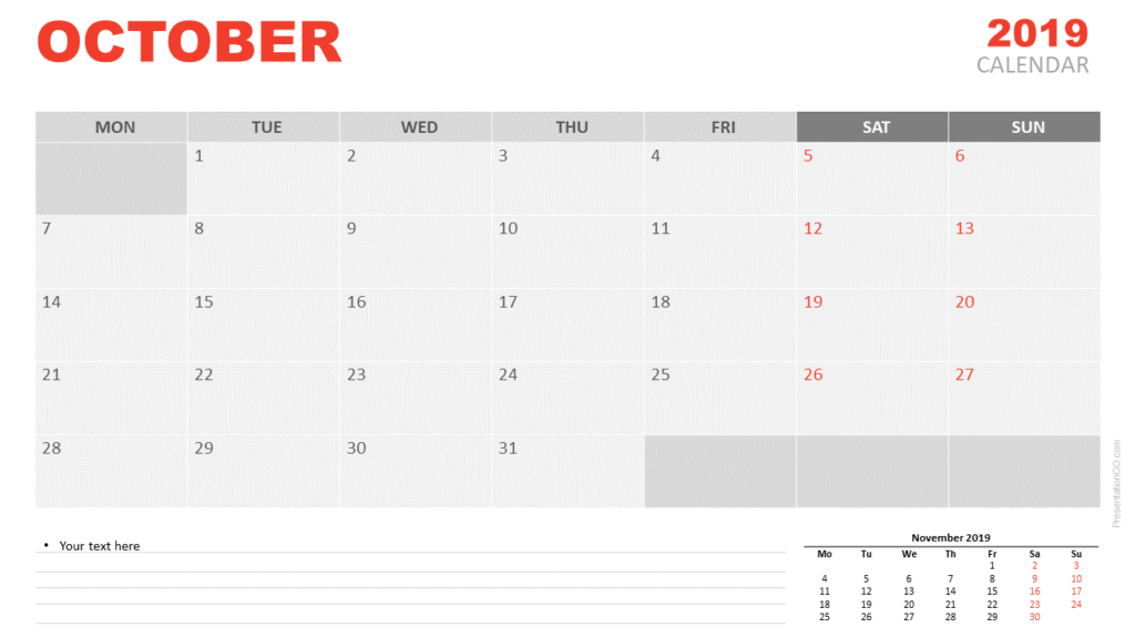 Free October 2019 Calendar for PowerPoint and Google Slides - Starts Monday