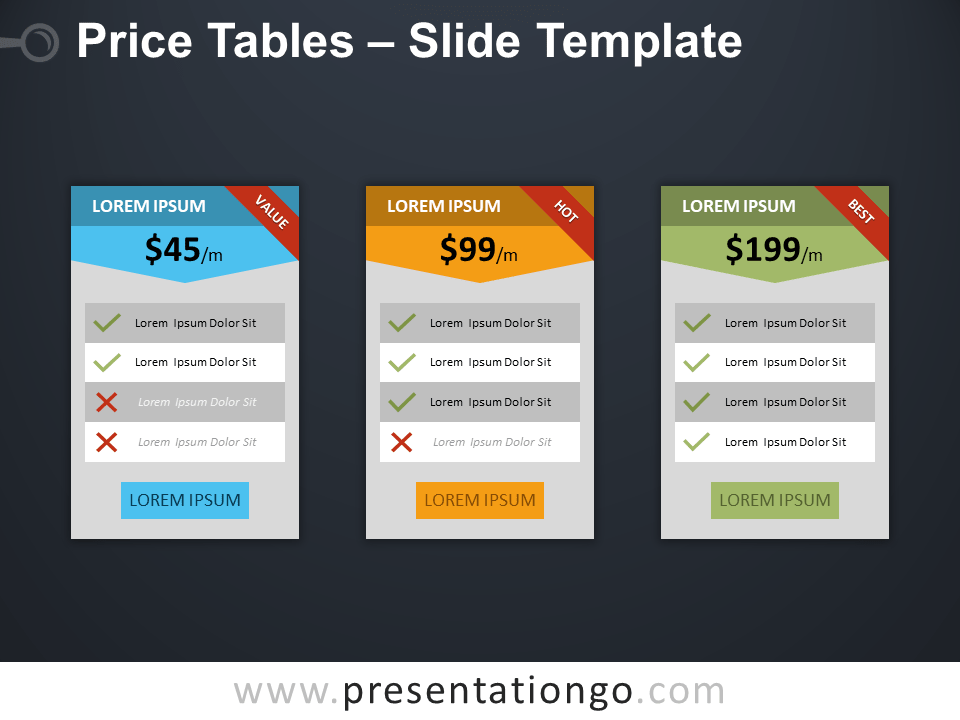 Free Price Tables Template for PowerPoint