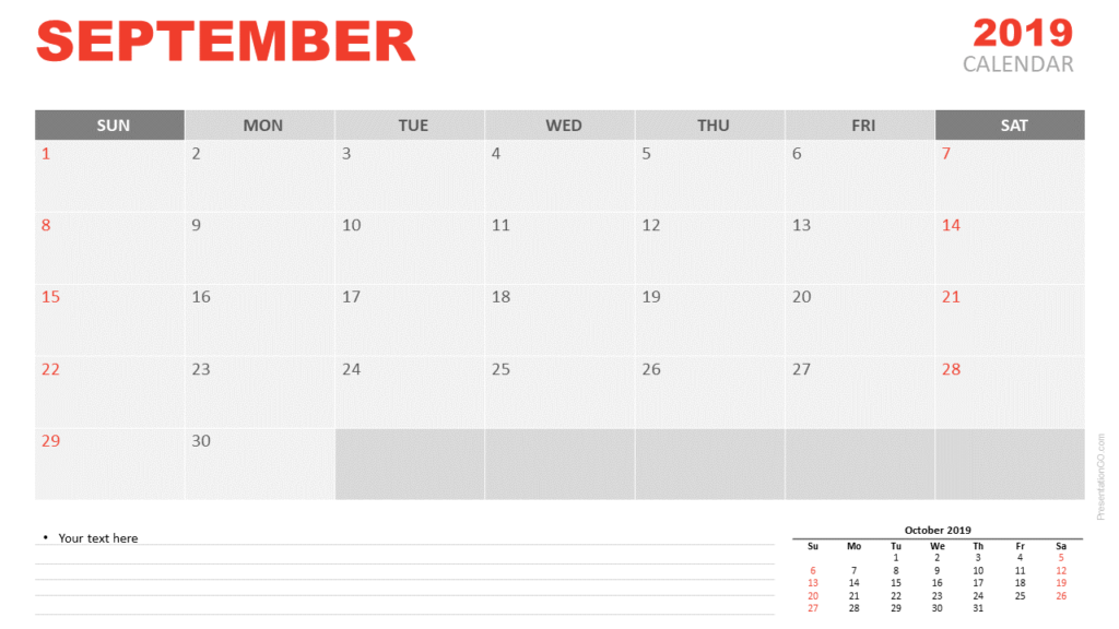Free September 2019 Calendar for PowerPoint and Google Slides
