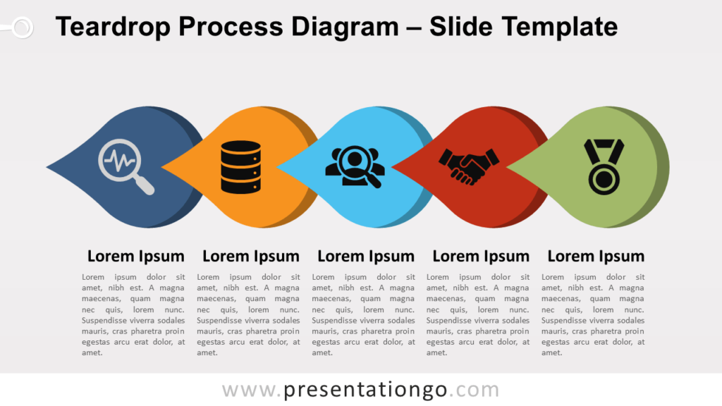 Free Teardrop Process Diagram for PowerPoint and Google Slides