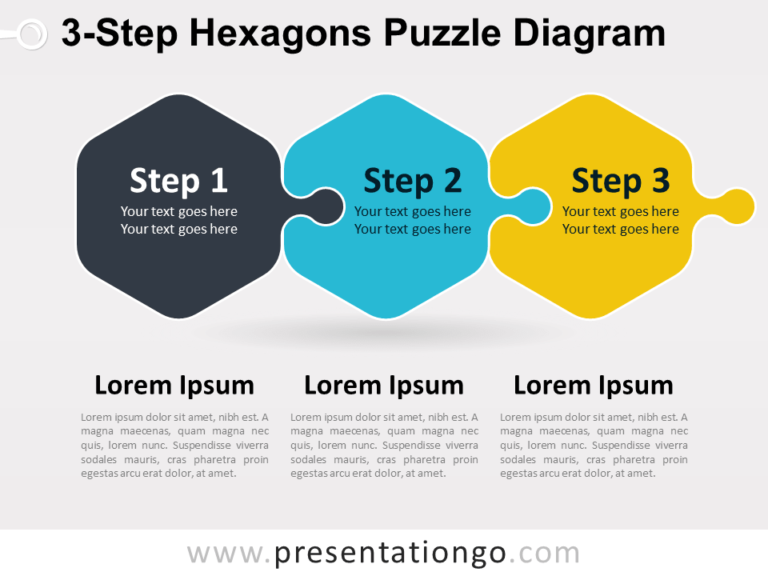 Free 3-Step Hexagons Puzzle Diagram for PowerPoint